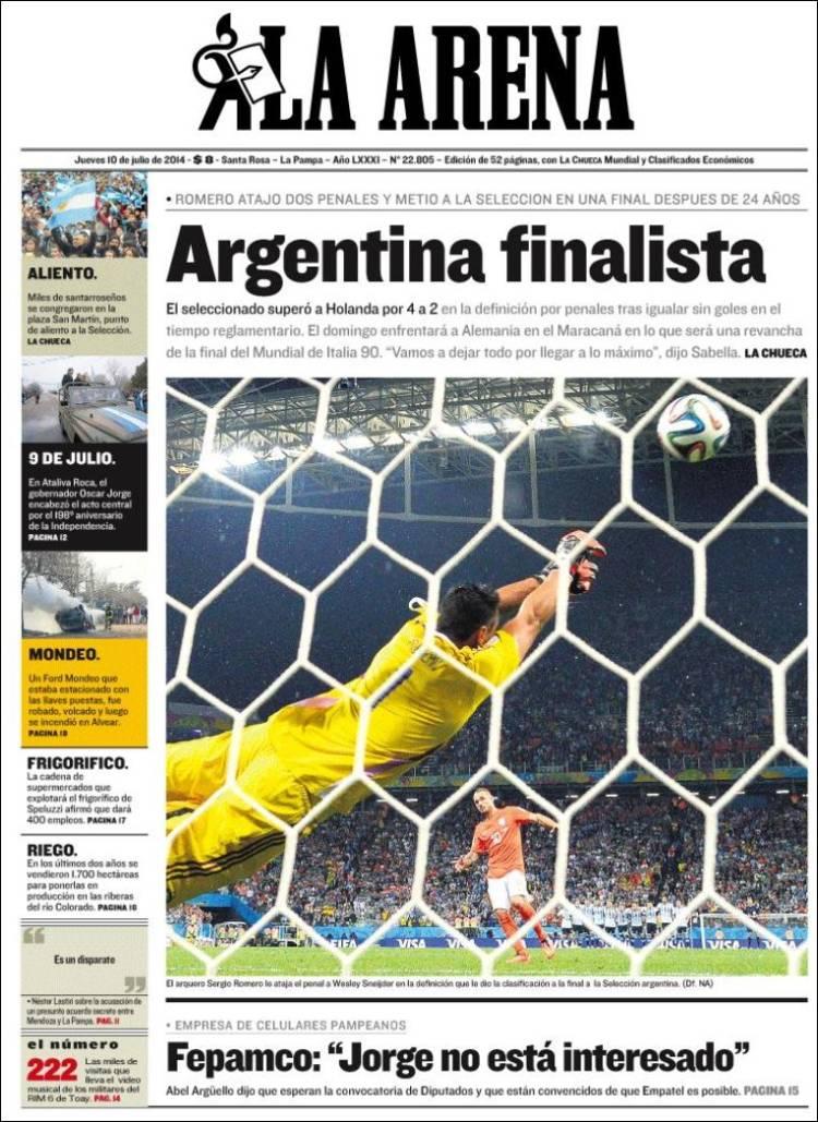 Periódico Diario La Arena Argentina Periódicos De Argentina Edición De Viernes 11 De Julio De 2014 Kiosko Net